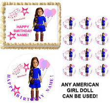 American Girl Doll Holding Balloons Edible Cake Topper Frosting Sheet-ANY DOLL!