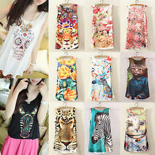 Women Summer Fitted Sleeveless Graphic Printed T Shirt Blouse Vest Tank Tops Tee
