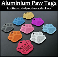 Aluminium Paw Shaped Pet Tag with Personalised Engraving for Dogs Cats Pets Tags