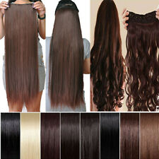 "Longest 17-27""3/4 Full Head Clip in Hair Extensions Curly Straight 40 colors hst"