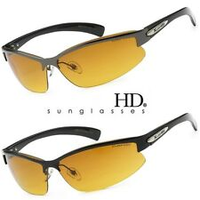 SPORT WRAP HD NIGHT DRIVING VISION SUNGLASSES YELLOW HIGH DEFINITION GLASSES MET
