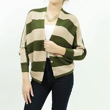Women's Knitted stripe dolman button front over size sweater cardigan top Olive