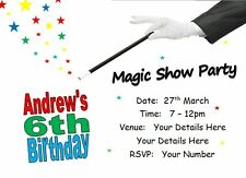 ij Personalised INVITATIONS, PK 10 +envs, birthday party invites, MAGICIAN MAGIC