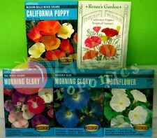 2011 Annual Flower Seeds: California Poppies Tropical Sunset & White Moonflower