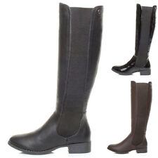 WOMENS LADIES FLAT LOW HEEL CALF KNEE CHELSEA WIDE STRETCH ZIP RIDING BOOTS SIZE