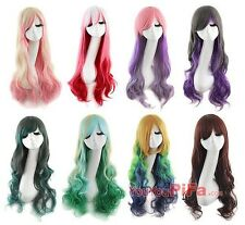 Anime long curly hair wig fashion prom gradient multicolor sweet