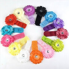Uk Selling Baby Girl Crochet Headband Hair Band with Daisy Flower 14 colors Tfs7