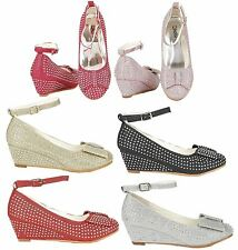 Girls Mary Jane Shoes Kids Children Sandals Glitter Wedge Heel Party Shoe Size