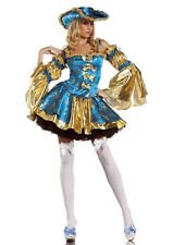 Cheap Womens Gold Plus Size Pirate Costume Halloween Fancy Dress Outfit M L XL