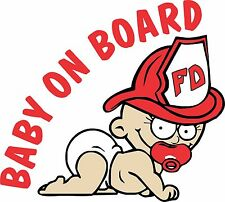 "Baby On Board, Firefighter Baby 6"" Decal Multiple Colors Available"
