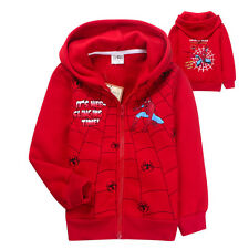 SPIDERMAN CARTOON CHILDREN JUNIOR BOYS AUTUMN/WINTER HOLIDAY OUTDOOR COAT/HOODIE
