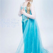 Disney Princess Frozen Queen Elsa Dresses&Crown&Hair Piece&Wand Party Costume