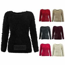 WOMENS KNITTED MOHAIR SOFT FLUFFY FUR LADIES BODYCON TUNIC FIT TSHIRT JUMPER TOP