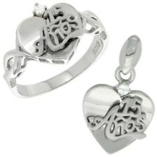 "925 Sterling Silver Quince ""15 Anos"" Plain Heart CZ Ring & Charm Pendant Set"