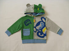 BNWT NEXT Baby Boys Green & Grey Hoodie Jumper Zip Up Top 9-12-18 M & 2-3 4-5 Y