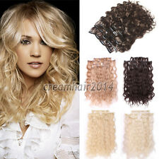 Women Sexy Long Body Wavy 8PCS Clip In On Hair Extensions Synthetic Weft Piece