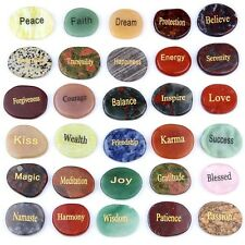 Natural Tumbled Palm Stone Engraved Inspired Words Gemstones Sold By 1pcs