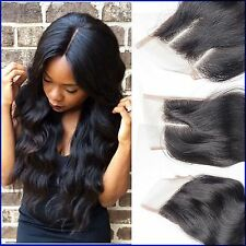 Brazilian Virgin Human Hair Extentions LaceTop Closure  Body Wave NATURAL COLOUR
