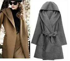 Europe Slim Hooded Wool Long Cardigan Coat Jacket Trench Wrap Overcoat W/Belt