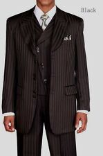 Men's 3 piece Fashion Tone on Tone Stripe Suit w/Vest Black 29197V