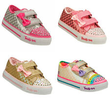 Girls Skechers Twinkle Toes, Sweet Steps Flashing Shoe, Silver, Pink or Gold.