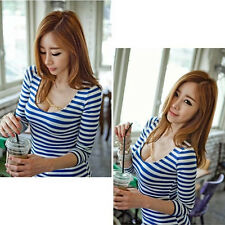 New Womens Autumn Stripe Sexy Tight Long Sleeve T-shirt Fashion Tops Blouse WK