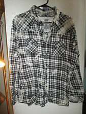 NWOT Mens Flannel Shirt by JAK, Bleached Look! Long Sleeves, Plaid