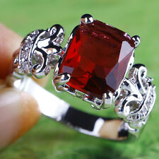 R1300 Alluring Engagement Gift Of Love Ruby Spinel Gems Silver Ring Size 6 8 11
