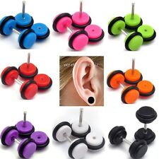 "16g Acrylic Cheater Ear Lobe Plugs Gauge Illusion Body Jewelry Pierce Look ""0g"""