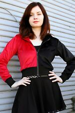 Red Black Cropped Hoodie zipper sweatshirt fur jacket plus size harley quinn