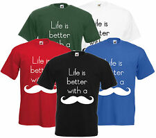 Life Is Better With A Moustache T Shirt Funny Tee Shabby Chic Geek Comedy S-XXL