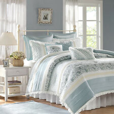 BEAUTIFUL 8PC ELEGANT VINTAGE CHIC WHITE BLUE GREY FLORAL RUFFLE COMFORTER SET