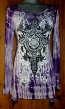 NWT VOCAL bling FLEUR SHIRT TUNIC TOP TYE-DYED western S M L XL  embellished PUR