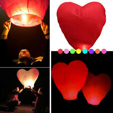 5/10/50pcs Chinese Lanterns Heart Shaped Sky Fire Fly Paper Lamp Wish Party Wed