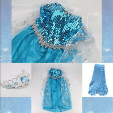 Disney Frozen Elsa Costume Anna Princess Queen Party Dresses Girls Kids Cosplay