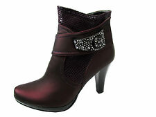 WOMENS SIZE 4 5 6 & 7 SHINY PURPLE PARTY CLUB PLATFORM HEEL SHOES ANKLE BOOTS