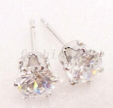 White Gold plate Stud Earrings Cubic Men Girl Unisex Round 5mm Clear Xmas Party