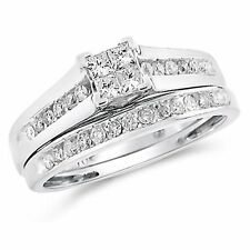 SOLID 10K WHITE GOLD 1/2 CT PRINCESS DIAMOND BRIDAL ENGAGEMENT RING WEDDING