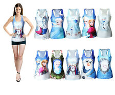 Frozen Princess Elsa&Anna Sleeveless Tank Tops Cami Back Vest Bodycon T-Shirt