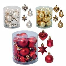 Red Silver or Gold Christmas Tree Decoration 18 Pk Multi Star Heart Bell Baubles