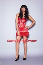 DRAMA QUEEN RUFFLE HEM CAMI DRESS RED UK 10  RRP £75.00 REDUCED TO CLEAR