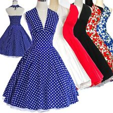 Vintage Casual Women 50s 60s Swing Pinup Polka Dot Floral Retro Rockabilly Dress