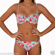 DAISY Padded Bikini Top or Strappy Hipster Bottom - Vintage Blue Floral