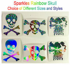 Novelty Pirate Skull & Crossbones Sparkles Rainbow Decal Stickers