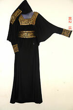 NEW ISLAMIC FREE EMBROIDERED CAFTAN BLACk ABAYA SCARF BURKA  GOWN GORGEUS DRESS