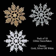 Christmas Tree Decorations - 10 Pack Glitter Snowflakes White Silver or Gold