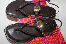 NWB Tory Burch ALI Sandals Flats Coconut Brown Leather Brazil 10 Auth