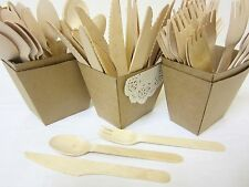 96 PACK WOODEN FORKS SPOONS KNIVES DISPOSABLE WOODEN CUTLERY PACK