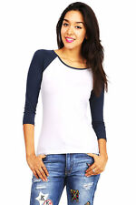 New Womens Trendy 3/4 Sleeve Top Baseball Tee Two Tone Tops Several Colors S M L