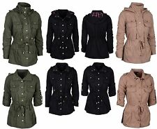 New Womens Lightweight Long Button Down Casual Jacket with Removable Hoodie